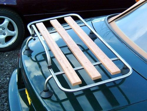 Boot / luggage rack, stainless steel &wood, s/s, with fitting kit